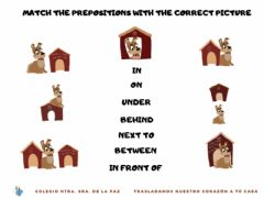 Ficha interactiva Match the preposition with the correct picture