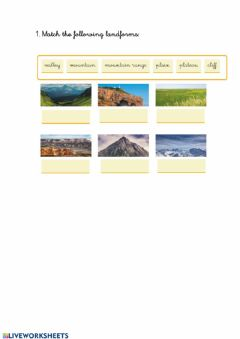 Interactive worksheet Landforms