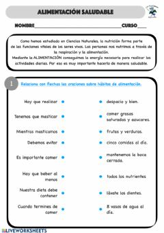 Interactive worksheet Hábitos de alimentación