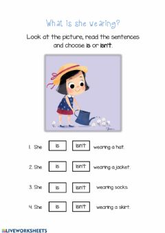 Interactive worksheet What is she wearing?