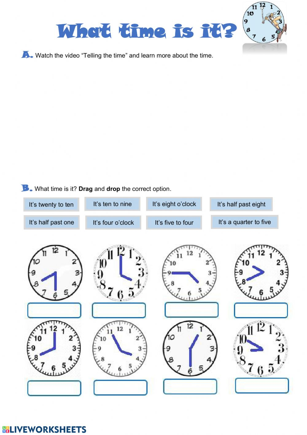 What time is it activity for 20 grade