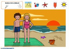 Interactive worksheet En la playa