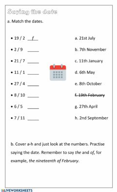 Interactive worksheet Dates