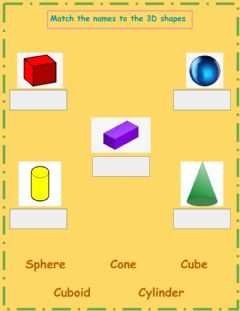Interactive worksheet 3D Shapes Name Match