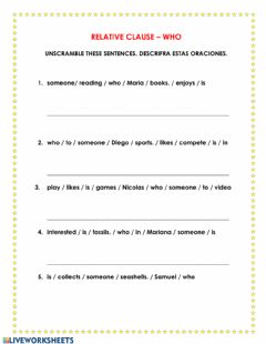 Interactive worksheet Relative clause - who
