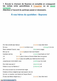 Interactive worksheet A nos héros du quotidien - Soprano