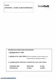 Interactive worksheet Separació síl·labes