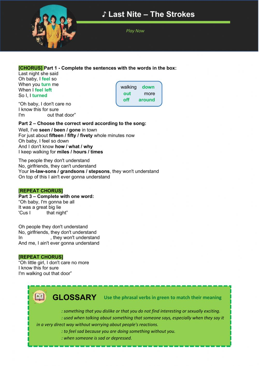Phrasal verbs with The Strokes worksheet