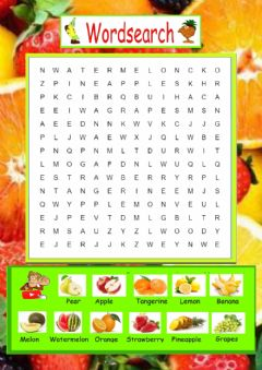 Interactive worksheet Fruits wordsearch