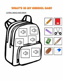 Interactive worksheet What's in my school bag?