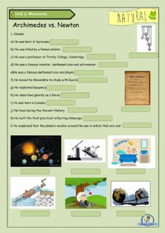 Interactive worksheet Archimedes and Newton