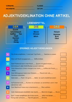 Interactive worksheet Adjektivdeklination ohne Artikel