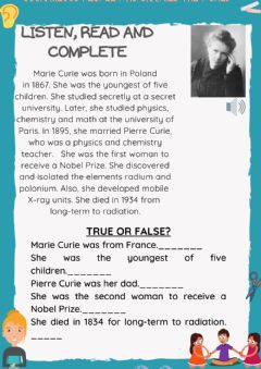 Interactive worksheet Courageous people who changed the world. marie curie