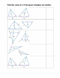 Interactive worksheet Using proportions with special segments of similar triangles