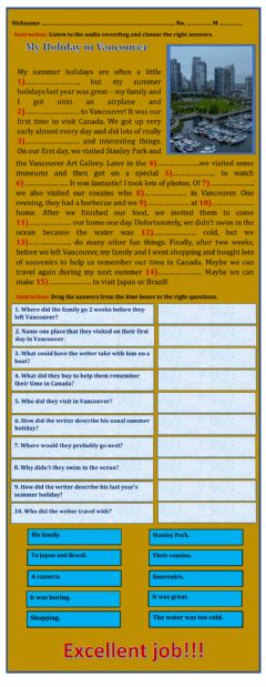 Interactive worksheet My Holiday in Vancouver - listening