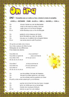 Interactive worksheet Chanson -  On ira - Zaz