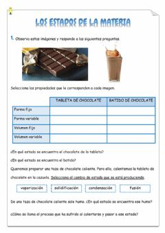 Interactive worksheet Los estados de la materia
