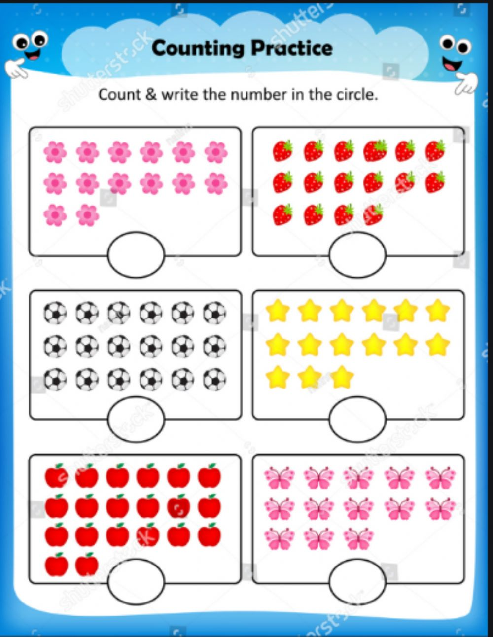 Counting numbers one to one corresponding worksheet