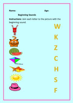 Ficha interactiva Beginning Sounds