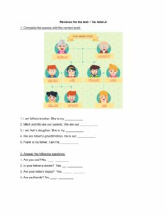 Interactive worksheet Revision possessive adj, feelings, yes-no questions