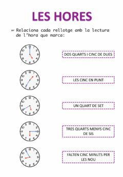 Interactive worksheet Les hores
