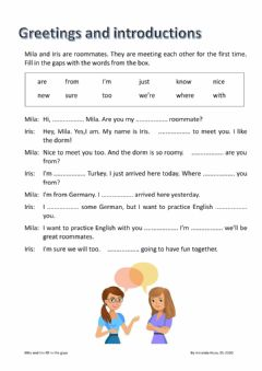 Interactive worksheet Greetings and introductions