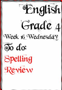 Interactive worksheet Week 16 - Wednesday - English - Grade 4