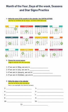 Interactive worksheet Months, dates and Star Signs