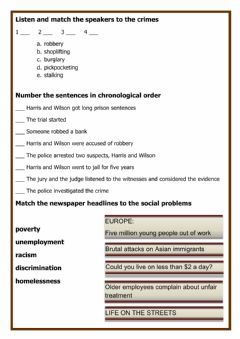 Interactive worksheet Crime and social problems
