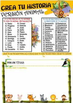 Interactive worksheet Crea tu propia historia animal