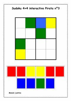 Interactive worksheet Sudoku 4 por 4 piratas Nº 3