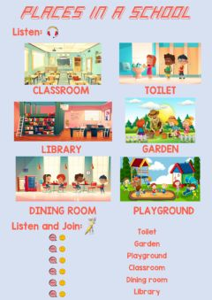 Interactive worksheet Places in a school