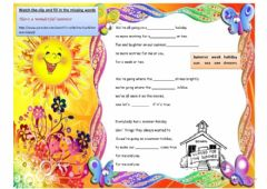 Ficha interactiva   SONG ACTIVITY : SUMMER HOLIDAY (CLIFF RICHARD)