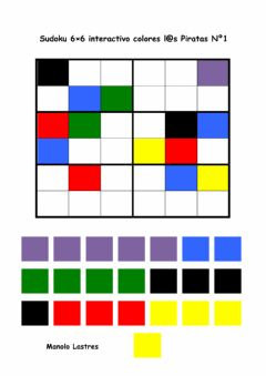 Interactive worksheet Sudoku 6por6 interactivo colores Piratas