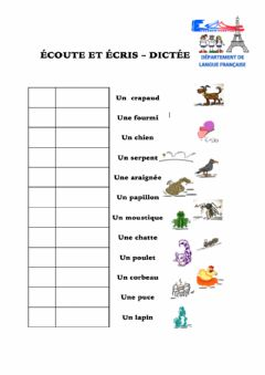 Interactive worksheet Les animaux CO