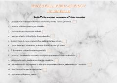 Interactive worksheet Repaso final: rocas y minerales