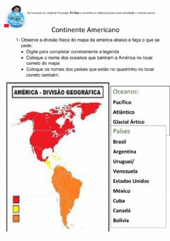 Interactive worksheet Continente Americano
