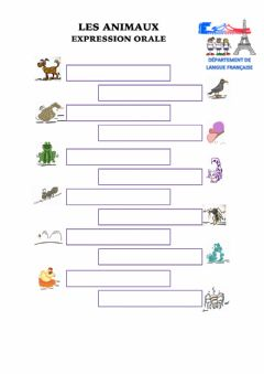 Interactive worksheet Les animaux EO