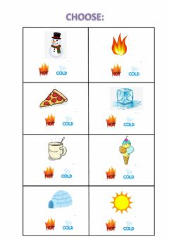 Interactive worksheet Hot - Cold