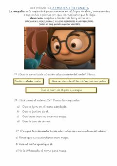 Interactive worksheet Valores 7 EMPATÍA, TOLERANCIA Y RESPETO HOJA 7