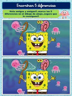 Interactive worksheet Encontrar 5 diferencias: Bob Esponja
