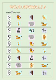 Interactive worksheet Wild animals part 2