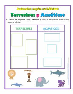 Interactive worksheet Animales según su hábitat
