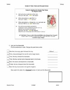 Interactive worksheet Fairy Tales and Past Tense of Regular Verbs