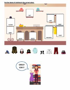 Interactive worksheet In the clothes shop