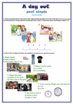 Interactive worksheet A day out - past simple listening