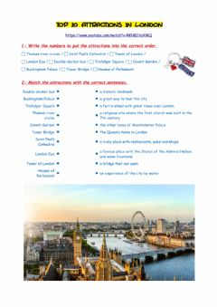 Interactive worksheet Top 10 attractions in London
