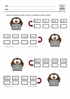 Interactive worksheet Ordenar nombres decimals