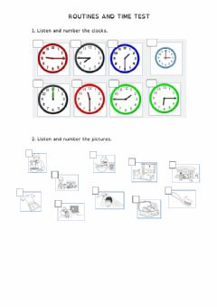 Interactive worksheet Routines and time test