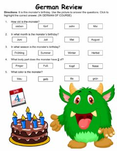 Ficha interactiva Monster's Birthday Review